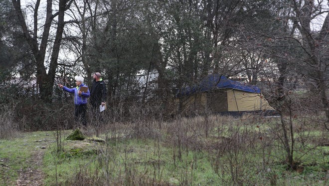 In January 2017, Judy Salter and Robert Balke participate in the Point In Time homeless count in the Henderson Open Space in Redding.