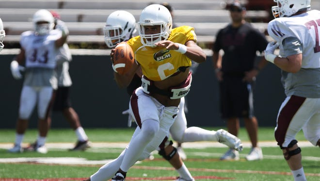 Junior quarterback Caleb Evans (6) completed 12-of-16 passes for 225 yards and accounted for four total touchdowns in ULM's first scrimmage of spring practice on Friday afternoon at Malone Stadium.