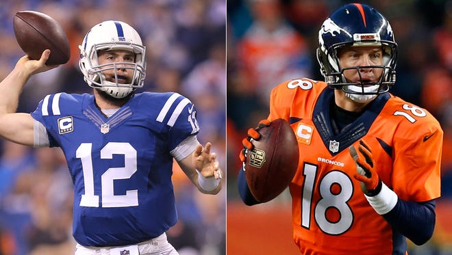 Andrew Luck of the Indianapolis Colts (left) and Peyton Manning of the Denver Broncos.