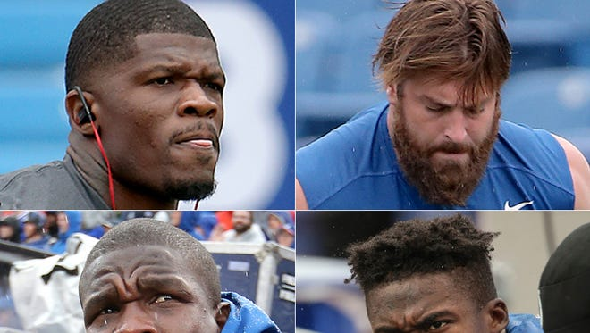 The Colts acquired (clockwise) Andre Johnson, Todd Herremans, Phillip Dorsett and Frank Gore this offseason.
