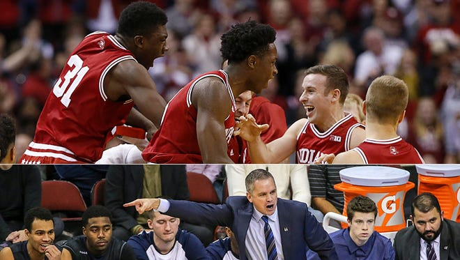 Indiana celebrates its comeback against Notre Dame in the Crossroads Classic (top); coach Chris Holtmann directs Butler at Seton Hall.