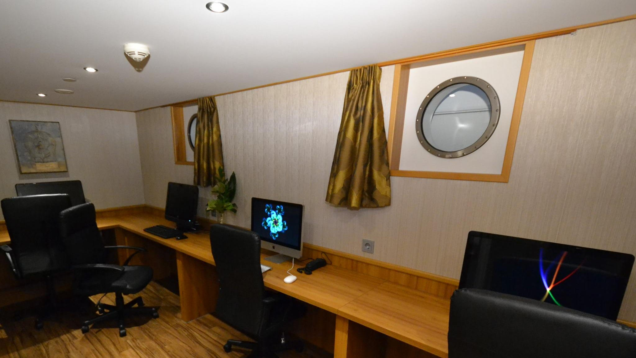 The ship also has a small internet cafe and also features wireless internet access in public areas and cabins.