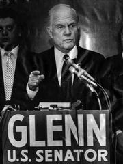 Feb. 19, 1986: U.S. Sen. John Glenn gestures during a press conference at Burk Lakefront Airport Wednesday afternoon in Cleveland, Ohio.