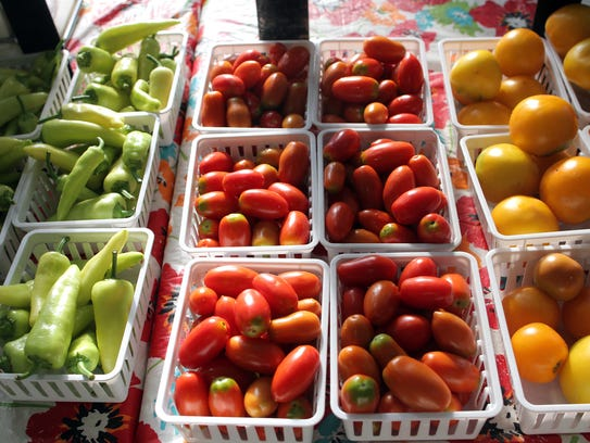 Fresh vegetables are seen at the Iowa City Farmers