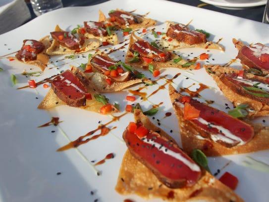 Blackened ahi tuna crisps from Atlas are seen Wednesday