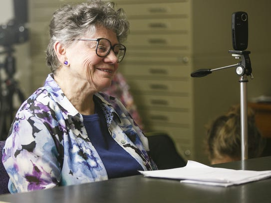 Historian Hazel Patton listens as former Salem mayor