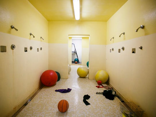 Showers in the locker rooms at Jefferson Middle School
