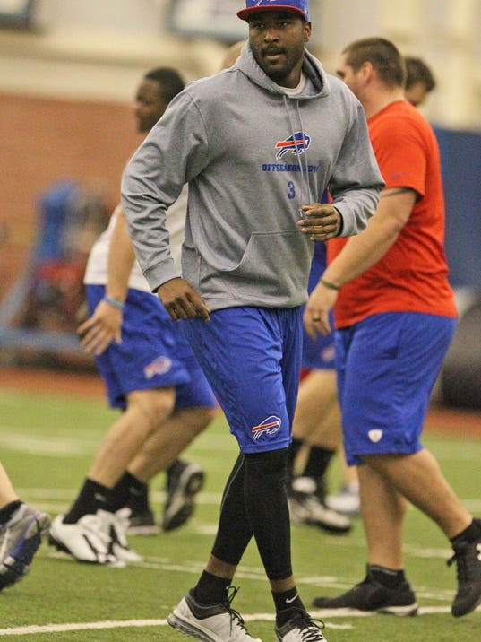 Buffalo Bills quarterback EJ Manuel works on his footwork during voluntary drills at the teams NFL football training center in Orchard Park, N.Y., Tuesday, April 22, 2014. (AP Photo/The Buffalo News, James P. McCoy) TV OUT; MAGS OUT; SALAMANCA PRESS OUT; TONAWANDA NEWS OUT