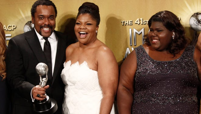"From left, Lee Daniels, Mo'Nique, and Gabourey Sidibe with award for best picture for ""Precious"" at the NAACP Image Awards in 2010 in Los Angeles."
