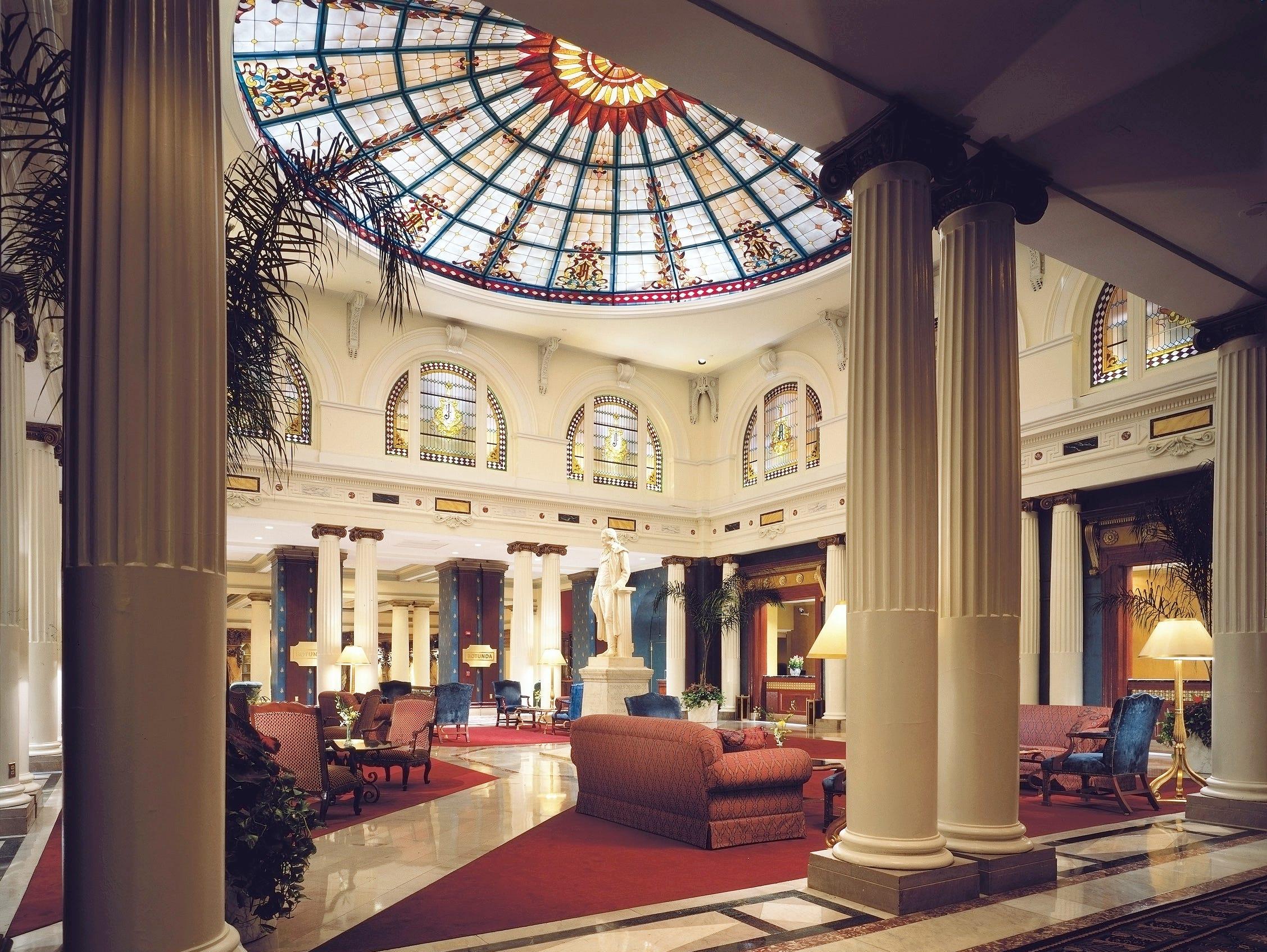 The Jefferson Hotel in Richmond, Va., incorporates touches of Jeffersonian design into the sitting area.