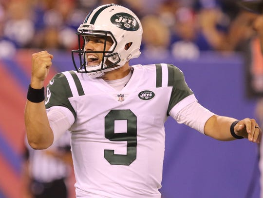 New York Jets quarterback Bryce Petty reacts after