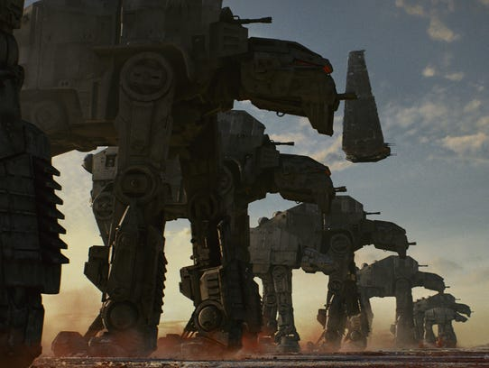 The First Order's AT-M6 Walkers, along with Kylo's