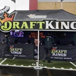 A DraftKings promotions tent in the parking lot of Gillette Stadium, in Foxborough, Massachuseets, before an Oct. 25 NFL game between the New England Patriots and New York Jets.