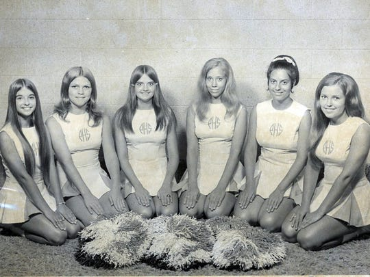 Powell High School cheerleaders attended a workshop at Tennessee Tech July, 1972. Pictured are squad members Jeanni Monroe, Sabrena Smith, Robin Oeener, Charlene Chumbley, Denise Gencay and Anita Mehaffey.
