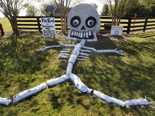 """Mickey Welsh / Advertiser""""No bones about it"""" is Kerington's entry in the hay bale decorating contest. Kerington's entry in the in the """"Hay Look at Us"""" hay bale decorating contest in Pike Road, Ala. on Monday October 20, 2014."""
