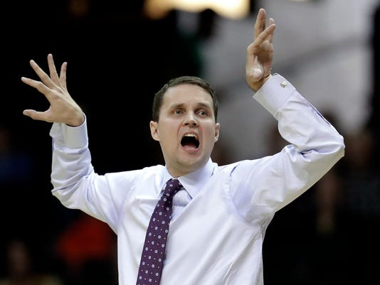 LSU head coach Will Wade signals to his players in the first half of an NCAA college basketball game against Vanderbilt Saturday, Jan. 20, 2018, in Nashville, Tenn. (AP Photo/Mark Humphrey)