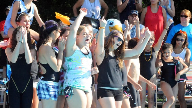 Swimmers cheer during opening ceremonies of the 2013 Olympic Swim Meet.