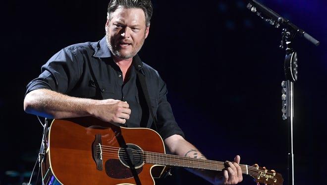Blake Shelton performs at the CMA Music Festival on Friday, June 8, 2018, at Nissan Stadium in Nashville.