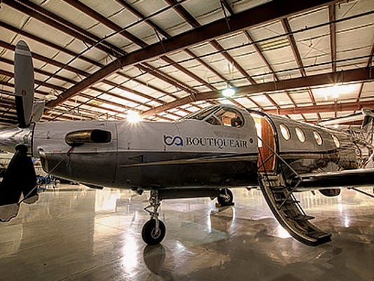 A Boutique Air Pilatus PC-12 prop plane, such as the one pictured will be used to service the Cavern City Airport in Carlsbad. Botique Air was give the Essential Air Service contract for Carlsbad's airport from the New Mexico Department of Transportation last week and will fly regularly scheduled routes from Carlsbad between Albuquerque and Dalls/Fort Worth.