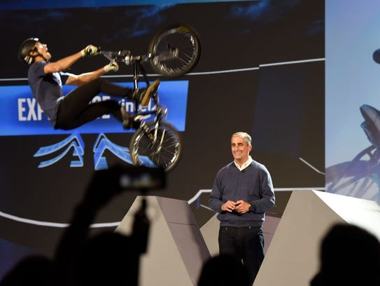 Intel chief executive Brian Krzanich delivering a keynote