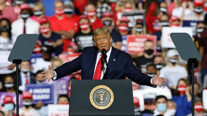 President Donald Trump speaks Wednesday evening, Oct. 21, 2020, as he held a rally outside under the stars at the Gastonia Municipal Airport on Gaston Day School Road.