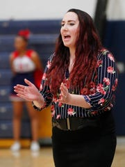 Coronado High head coach Jamie Fellows instructs her team while playing against Higley High in Scottsdale, Ariz. January 29, 2018.