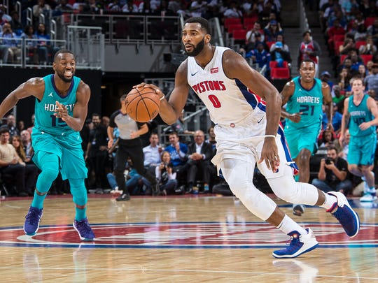 Andre Drummond dribbles against the Hornets on Oct. 18.