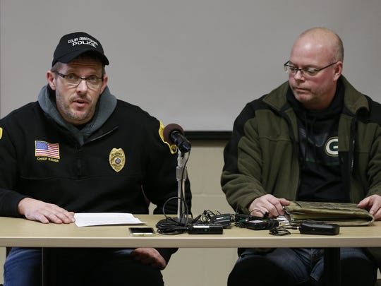 Colby-Abbotsford Police Chief Jason Bauer, left, and Marathon County Sheriff Captain Greg Bean held a press conference Saturday regarding a shooting that killed two persons in Abbotsford. T'xer Zhon Kha/USA TODAY NETWORK-Wisconsin