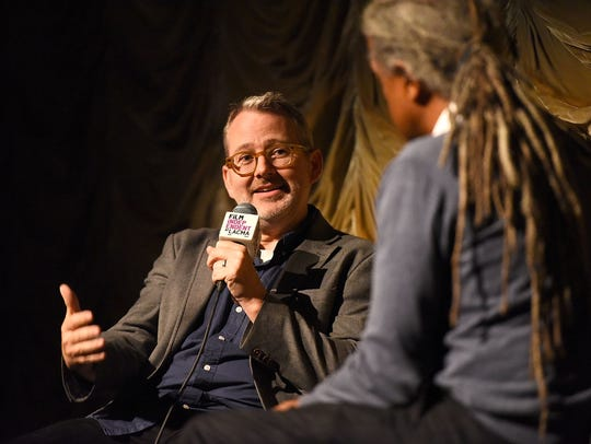Elvis Mitchell interviews  Morgan Neville at a screening