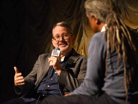 "Elvis Mitchell interviews  Morgan Neville at a screening of ""Won't You Be My Neighbor?"" on May 31, 2018, in Los Angeles."