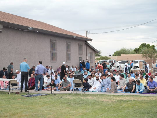 Men gather at the Islamic Society of Palm Springs for