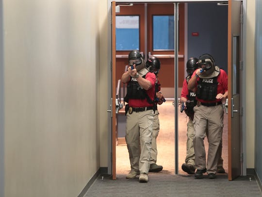 Officers from the Indio Police Department conduct active