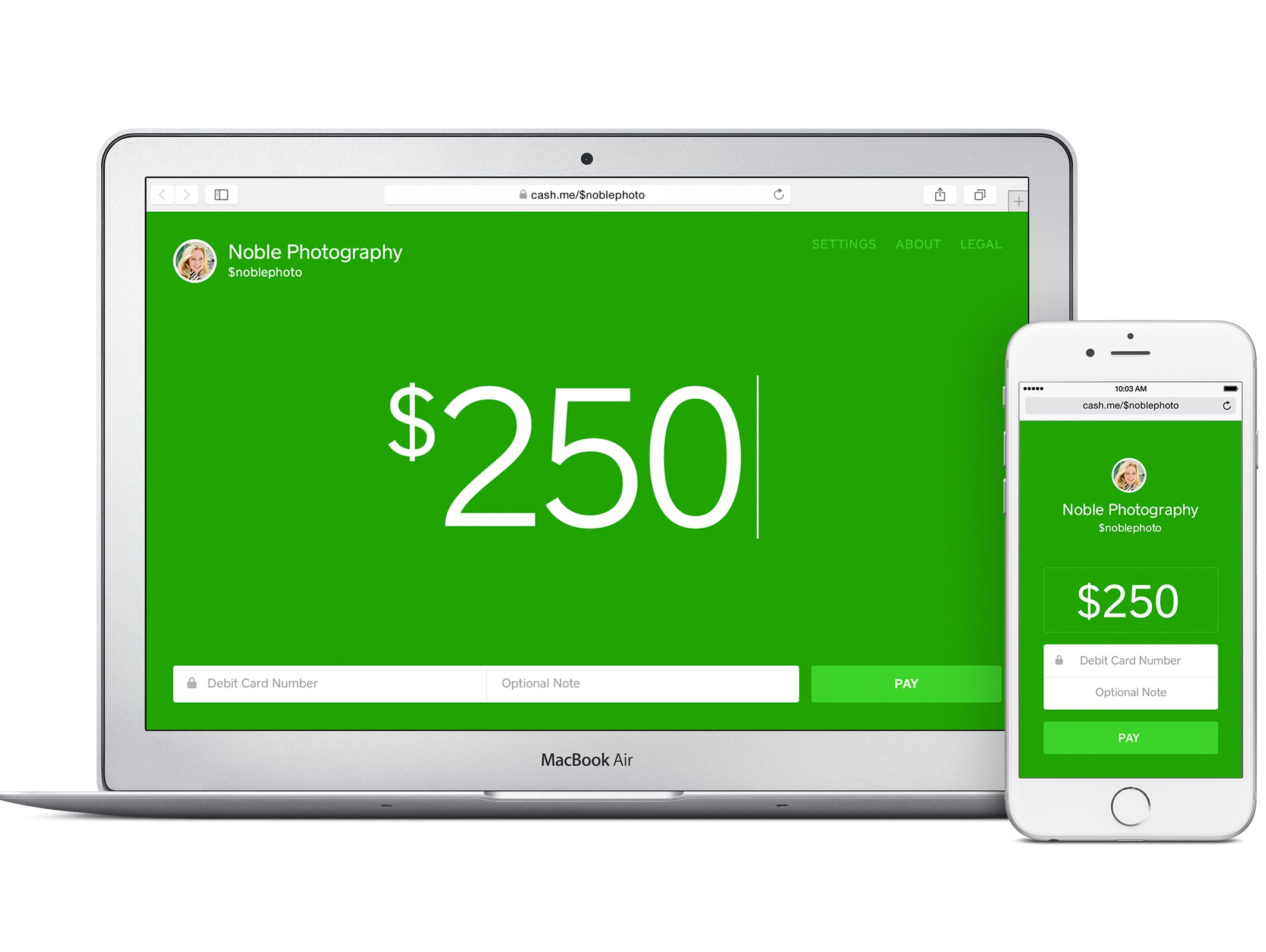 A screenshot of the website and app cash.me from Square.