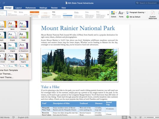 Showing off design options in Microsoft Word.