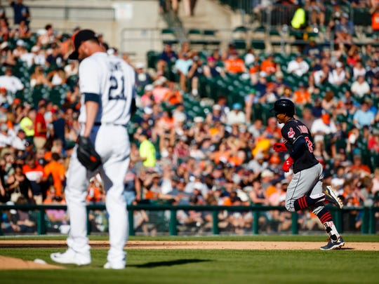 Jun 25, 2016; Detroit, MI, USA; Cleveland Indians shortstop Francisco Lindor runs the bases after he hits a home run off Detroit Tigers relief pitcher Mark Lowe in the eighth inning at Comerica Park.