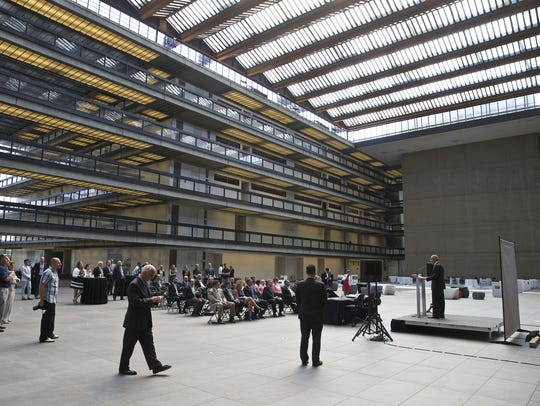 The atrium of the former Bell Labs building in Holmdel,
