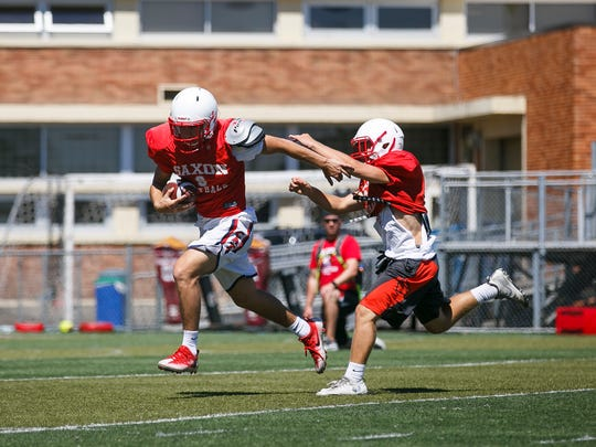 The South Salem High School football team practices on Wednesday, Aug. 16, 2017, in Salem.