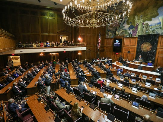 The general assembly convenes for Gov. Eric Holcomb's