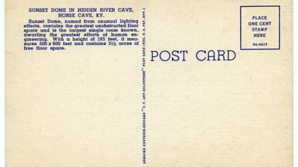Back of a Sunset Dome postcard from the 1930s.