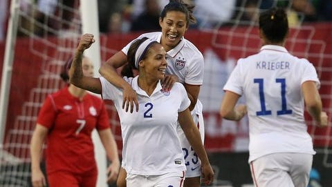United States forward Sydney Leroux (2) celebrates her goal on Thursday night with Christen Press during the second half against Canada at Investors Group Field in Winnipeg.
