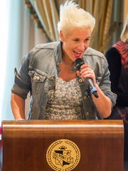 Food Network star Anne Burrell welcomes guests to the 20th Annual Celebrity Chefs Brunch held at the DuPont Country Club in Wilmington on Sunday afternoon.