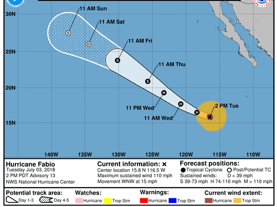 Projected path of Hurricane Fabio as of 5 p.m. Tuesday,