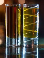 A dark rum and a golden rum are key ingredients of