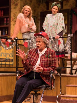 Eve Plumb (Clairee), Anna Crivelli (Shelby) and Elizabeth Ward Land in Geva Theatre Center's production of Steel Magnolias.