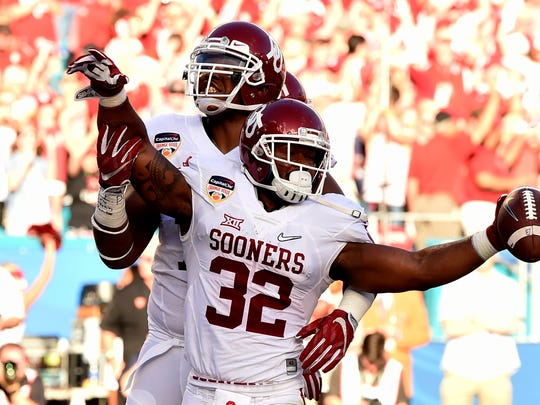 Oklahoma running back Samaje Perine, shown here with