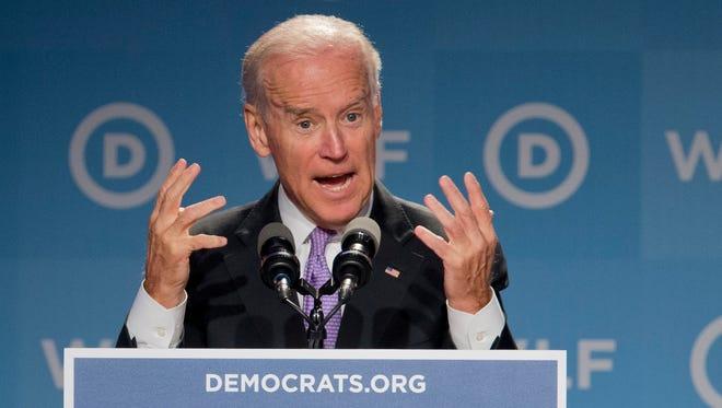 Vice President Joe Biden, speaks at the DNC Women's Leadership Forum in Washington, Friday, Sept. 19, 2014.