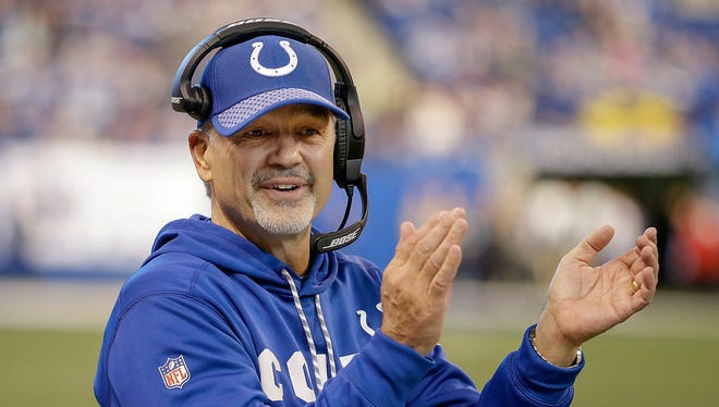 Indianapolis Colts head coach Chuck Pagano applauds a field goal by  kicker Adam Vinatieri in the second half of their game  Sunday, Dec. 31, 2017.  The Indianapolis Colts defeated the Houston Texans 22-13.