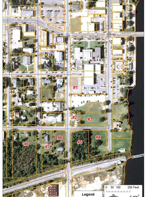 The city of Milton is under contract to spend about $116,000 to purchase parcels 6 and 8 shown on this map, to potentially be used in the construction of a new county courthouse in downtown Milton.