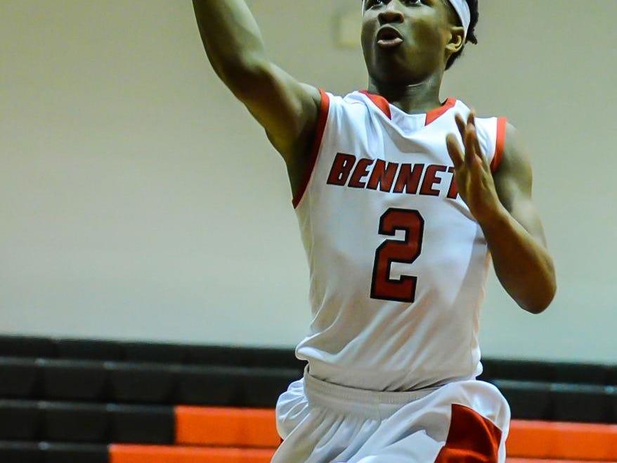Bennett's Jorden Duffy drives to the basket during a home game against Pocomoke.