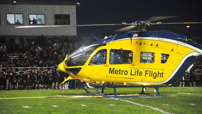 Med Flight touched down Friday to be honored at the Crestview High School football game.